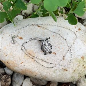 Sterling Silver Black & White Diamond Owl Necklace